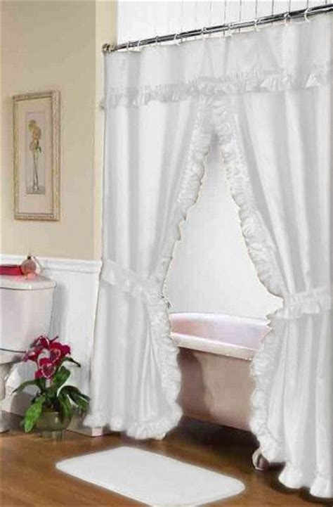 Shower Curtains With Tie Backs Ruffled Swag Shower Curtain With Valance Tie Backs White Valance And Swag