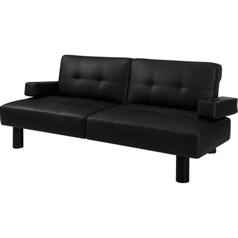 futon leather hometrends connectrix futon black faux leather walmart