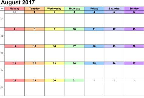 Kalender 2017 August August 2017 Printable Calendar Printable Calendar Templates