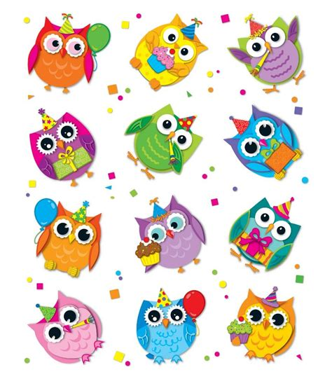 colorful owls celebrate with colorful owls shape stickers workbooks