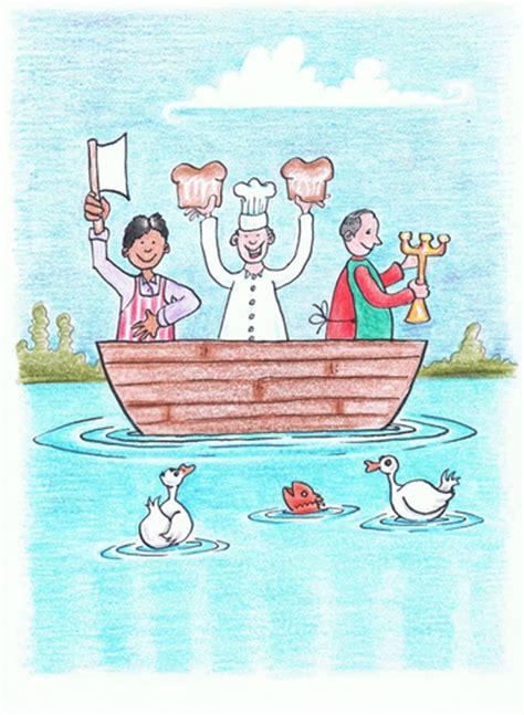 boat maker cartoon three men in a boat by kerina strevens media culture