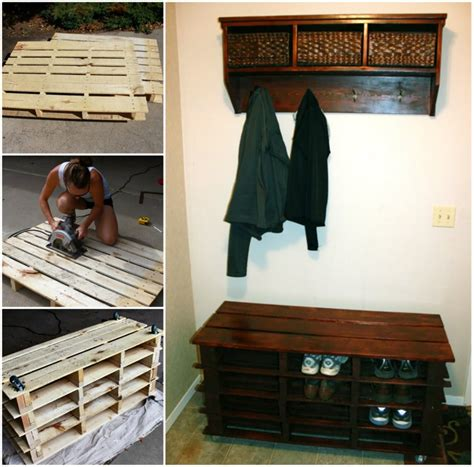 pallet bench with storage and shoe rack coat rack bench wonderful diy sofa table with free plans