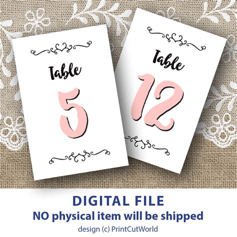 4x6 printable scroll grey and pink table numbers by romantic pink table numbers 4x6 rustic wedding table number