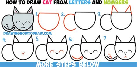 Easy Steps To Draw A Cat by How To Draw A Cat Completely From Letters