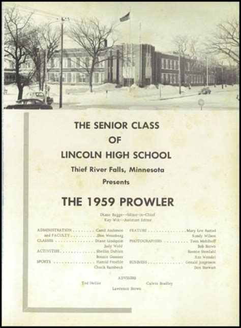 lincoln high school mn explore 1959 lincoln high school yearbook thief river