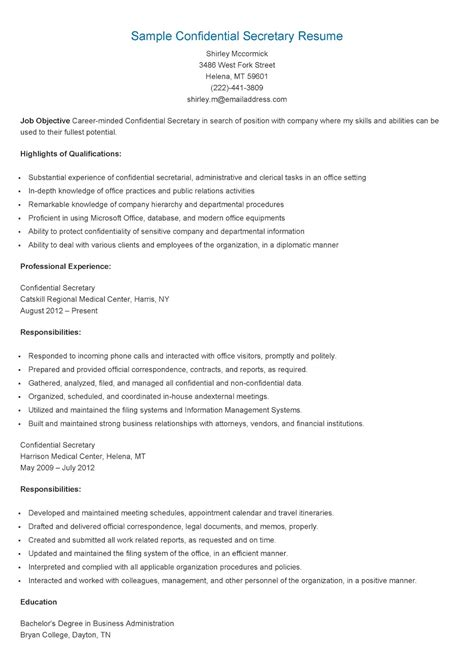 Example Warehouse Resume by Resume Samples Confidential Secretary Resume Sample