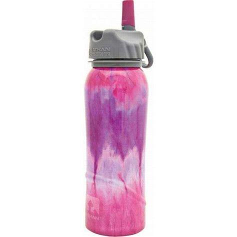 Nathan Top Pink nathan steel pink tie dye water bottle 24 ounce oz flip straw cap dishwasher at outdoorshopping