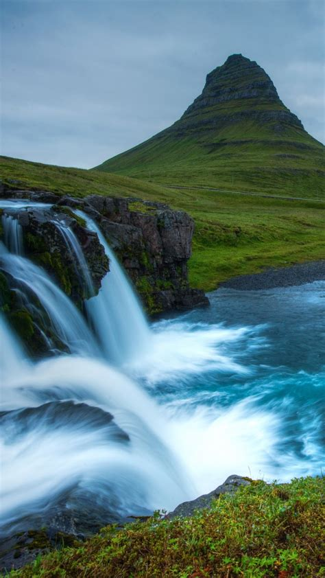 wallpaper snaefellsnes   wallpaper iceland waterfall hills river nature