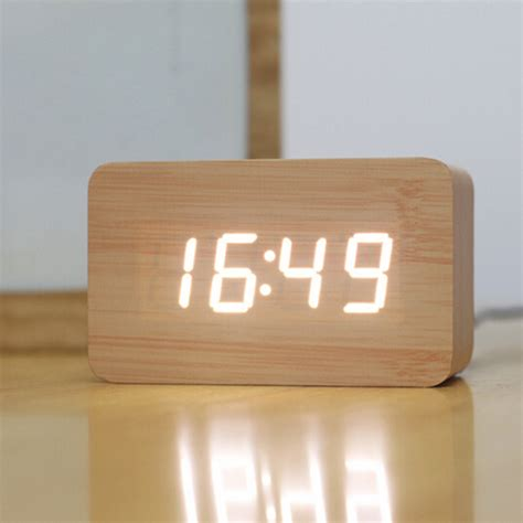 cool digital clocks creative design led display light alarm wood clock gadgets