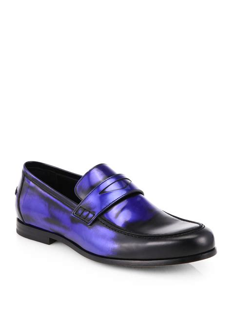 blue leather loafers lyst jimmy choo darblay leather loafers in blue for