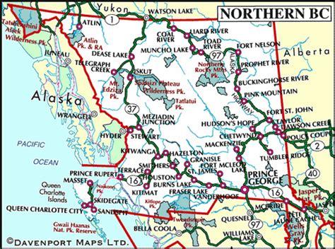 printable bc road map map of northern british columbia british columbia travel