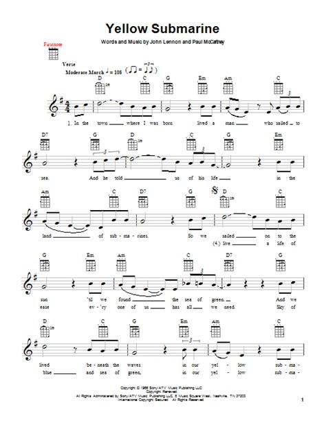 strumming pattern for yellow submarine yellow submarine partition digitale