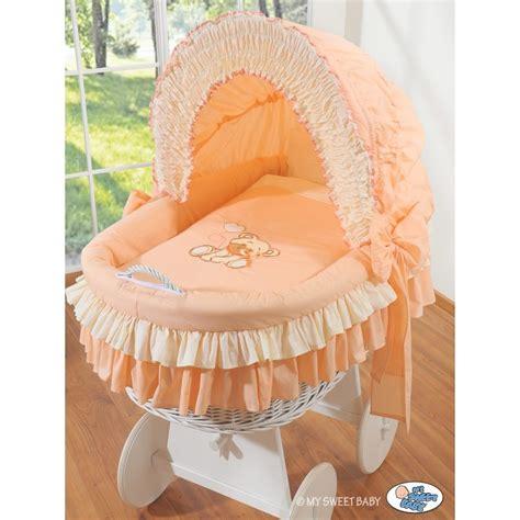 wicker crib cradle moses basket teddy white wicker