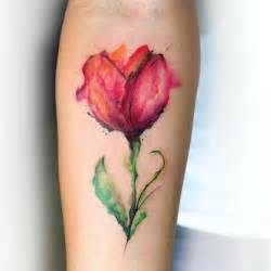 Red tulip tattoo worlds style