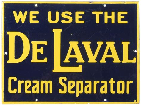 Blue And Yellow Lava L by Delaval Separator Porcelain Sign Cobalt Blue Yellow Exc Cond W Some Light Scratches 12 5