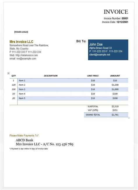 Self Employed Invoice Template Invoice Template Ideas Self Employed Invoice Template