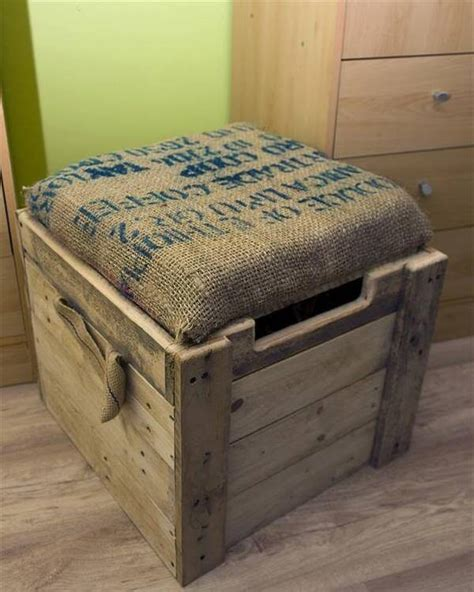pallet ottoman burlap cushioned pallet ottoman toy box 99 pallets