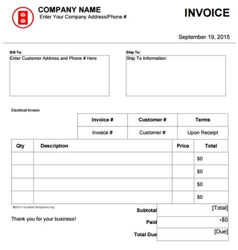 electrical invoice template electrical invoice template free hardhost info
