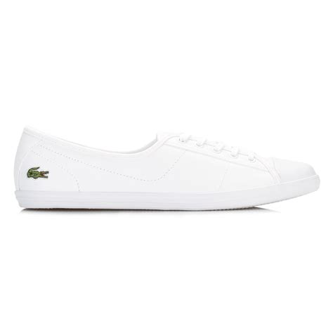 womens lacoste sneakers lacoste womens trainers white ziane bl 1 spw leather lace