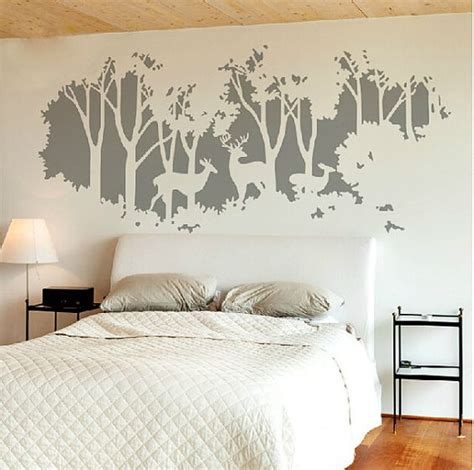 tree stickers for walls gray deer tree decal tree wall sticker forest tree decals
