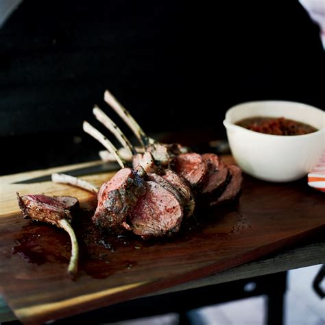 pan seared rack of lamb recipe slow grilled rack of lamb with mustard and herbs recipe hugh acheson food wine