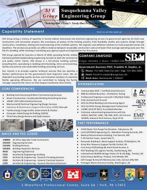 Susquehanna Valley Engineering Group Inc Capability Statement Capability Statement Template For Government Contractors