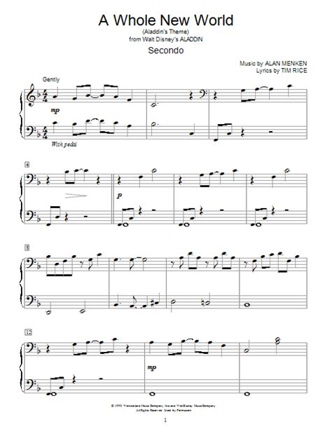 printable lyrics a whole new world a whole new world from aladdin sheet music by alan