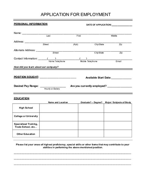 printable job applications free printable employment application