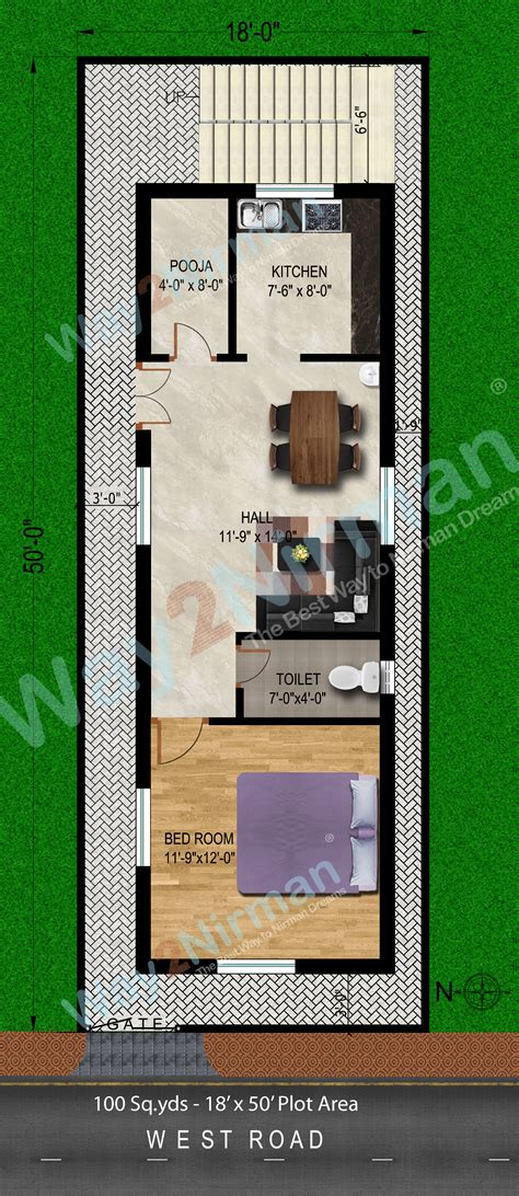 100 yard home design way2nirman 100 sq yds 18x50 sq ft west face house 1bhk