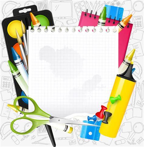school supplies template vector free vector cartoon school supplies cartoon school supplies