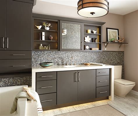 gray bathroom cabinets schrock cabinetry