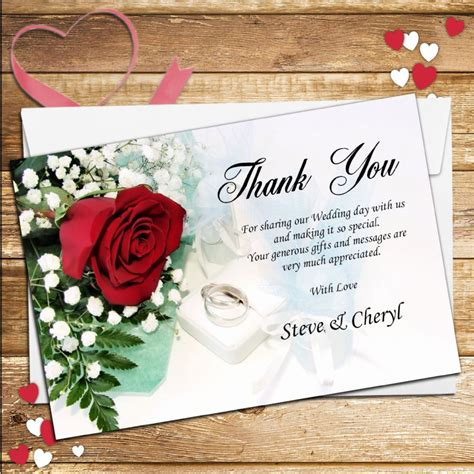 Wedding Cards Designer Vacancy by 10 Personalised Wedding Day Thank You Cards N120