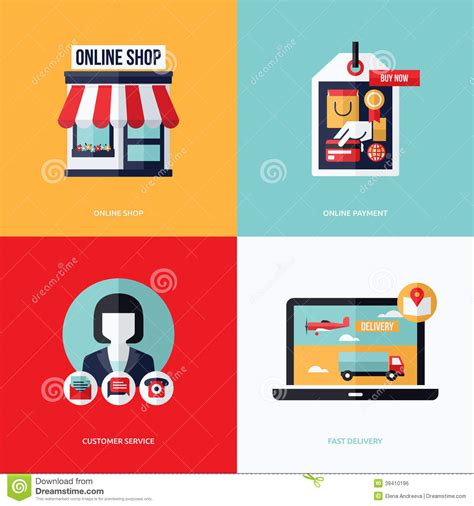 Design Retail Online | flat vector design with e commerce and online shopping