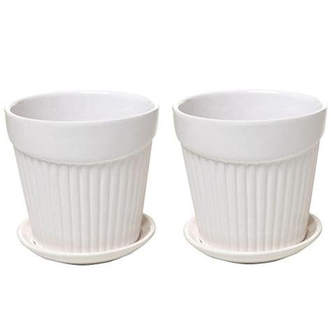 set of 2 small white decorative ribbed ceramic plant