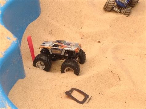 monster truck race track toys boy playing sand sandpit toy monster truck race