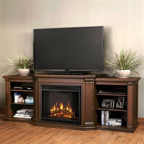 Look Fireplace by Real Valmont 76 In Media Console Electric Fireplace