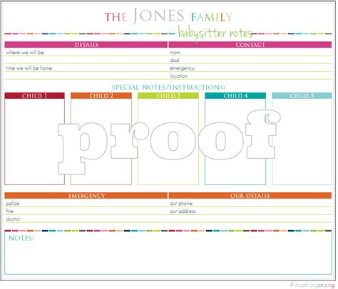 nanny notes template personalized notes printable