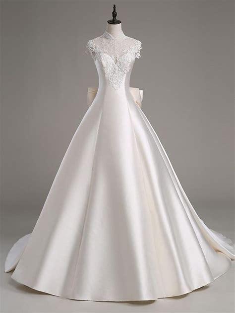 Capela Dress linha a ilus 227 o decote cauda capela cetim tule vestido de casamento cristais mi 231 angas