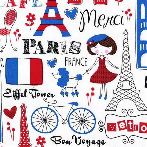 the word pattern in french retro bonjour paris eiffel tower fabric fq cafe funky