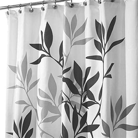 Unisex Shower Curtain by Interdesign Leaves Fabric Shower Curtain Black Gray White Home Garden Bathroom Accessories Curtains