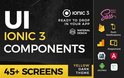 ionic card teaser template ionic 3 ui theme template app material design yellow