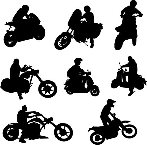 Motorrad Silhouette by Motorcycle Riders With Motorcycle Silhouettes Vector Set