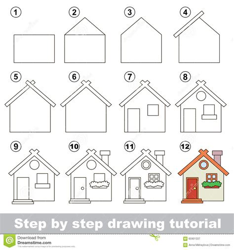 how to draw a house for kids step by step drawing comment dessiner toy house illustration de vecteur image