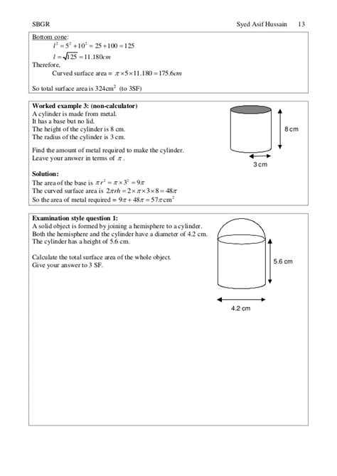 Cqs Topic What Is The Height Weight Shape by Topic 24 Further Volume And Surface Area