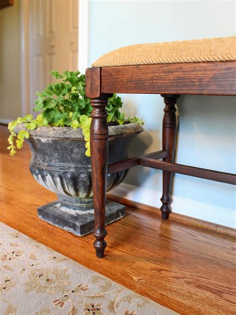 how to reupholster a bench how to refinish and reupholster a bench hgtv