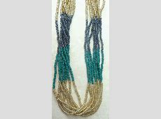 Vintage Style Long Faux Gemstone Seed Bead Necklace. Gold Hematite Beads