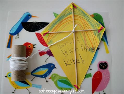 A Kite Out Of Paper - wind activities for coffee cups and crayons
