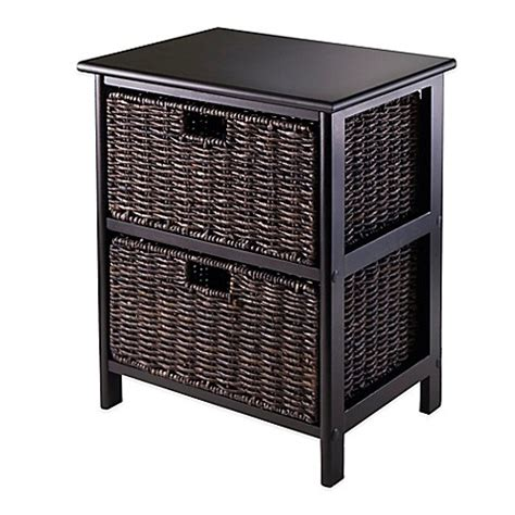 Bed Bath And Beyond Omaha by Winsome Trading Omaha Storage Rack With 2 Baskets In Black