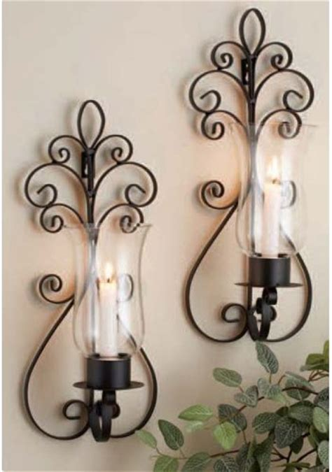 Metal Wall Decor With Candles by Home Essentials Set Of Two 2 17 Inch Candle Holder
