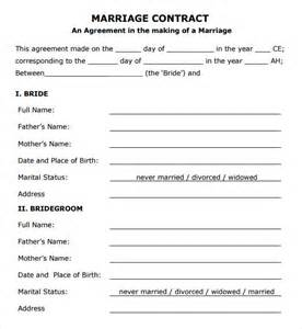 Islamic Marriage Contract Template by Marriage Contract Template 7 Free Documents In